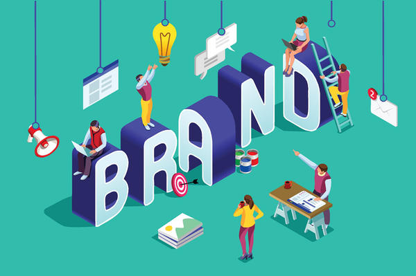 Brand vector text isometric logo